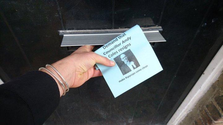 Sack Andy Coles blue leaflet