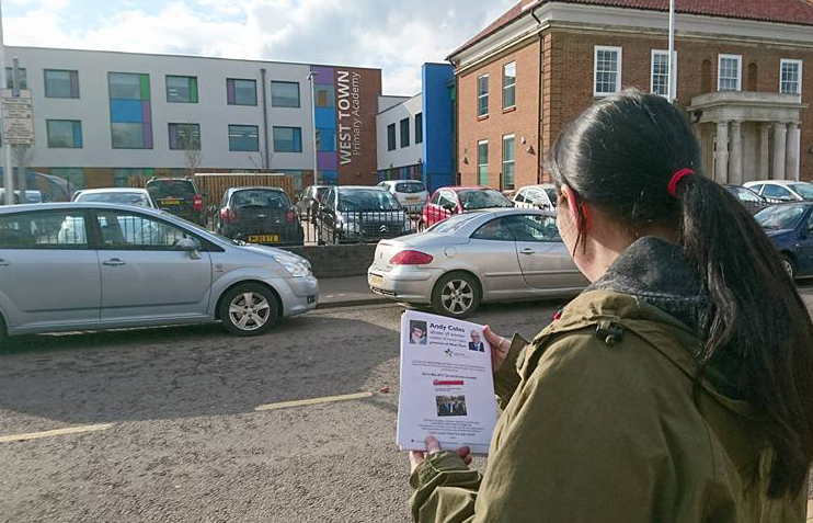 Jessica leafleting West Town Primary Academy about sexual abuser Andy Coles, March 2018