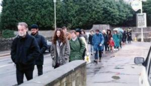 Undercover police officer Andy Coles (2nd from left) on a march to the US airbase at Fairford, 16 March 1991