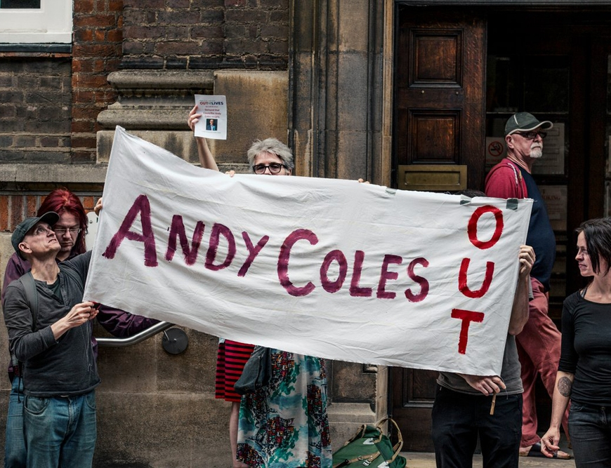 Andy Coles Out banner at Peterborough Town Hall