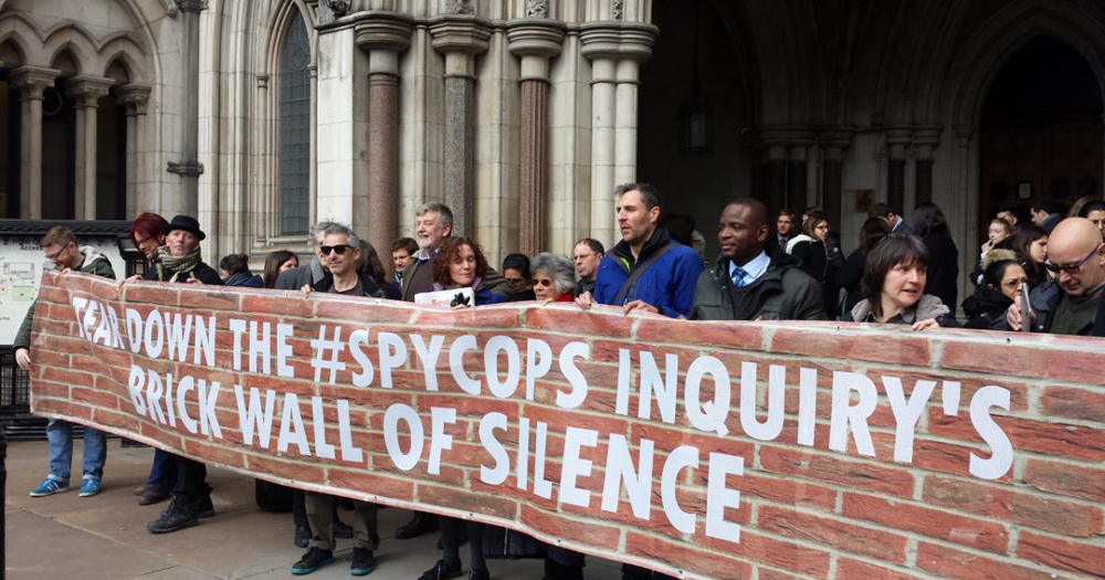Victims walk out of Undercover Policing Inquiry hearing, 21 March 2018