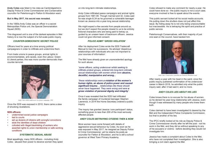 Inside of Sack Andy Coles leaflet